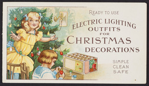 Ready to use electric lighting outfits for Christmas decorations, Edison Dec. & Min. Lamp Dept, Harrison, New Jersey, undated