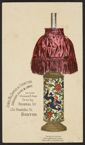 Trade card for Jones, McDuffee & Stratton, crockery, china & lamps, 51 to 59 Federal Street and 120 Franklin Street, Boston, Mass., undated