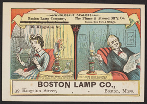 Trade cards for the Boston Lamp Co., 39 Kingston Street, Boston, Mass., undated