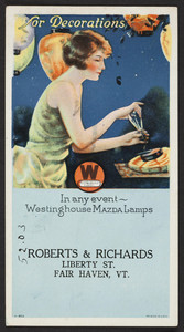 Trade card for Roberts & Richards, Westinghouse Lamps, Liberty Street, Fair Haven, Vermont, undated