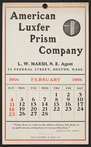 Trade card for Luxfer Prism Company, 15 Federal Street, Boston, Mass., February 1906