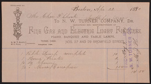 Billhead for the N.W. Turner Company, importers and manufacturers of fine gas and electric light fixtures, Nos. 27 and 29 Bromfield Street, Boston, Mass., dated April 22, 1890