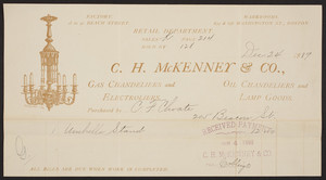 Billhead for C.H. McKenney & Co., gas chandeliers and electroliers, oil chandeliers and lamp goods, Boston, Mass., dated December 24, 1889