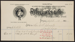 Billhead for R. Hollings & Co., chandelier and lamp makers, 93-95 Summer Street, Boston, Mass., dated September 13, 1901