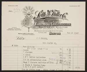 Billhead for the Seth W. Fuller Co., engineers & contractors for all kinds of electrical construction, supplies and novelties, 185 Devonshire & 48 Arch Streets, Boston, Mass., dated November 16, 1908
