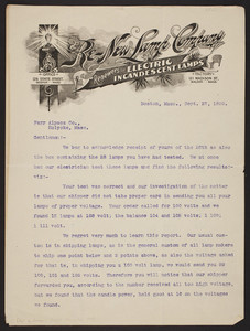 Letterhead for the Re-New Lamp Company, renewers of electric incandescent lamps, office, 126 State Street, Boston, Mass., dated September 27, 1899