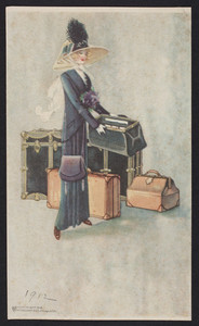 Trade card for luggage, location unknown, 1912