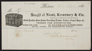 Billhead for Neat, Kearney & Co., manufacturers and wholesale and retail dealers in sold leather iron-frame travelling trunks, valises, carpet bags, Nos. 52 & 54 Elm and 24 & 26 Friend Street, Boston, Mass., dated May 23, 1866