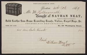 Billhead for Nathan Neat, manufacturer and wholesale and retail dealer in solid leather iron-frame travelling trunks, valises, carpet bags, No. 336 Washington Street, Boston, Mass., dated October 30, 1869