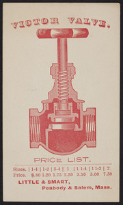 Price list for the Victor Valve, Little & Smart, Peabody and Salem, Mass., undated