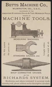 Postcard for the Betts Machine Co., machine tools, Wilmington, Delaware, undated
