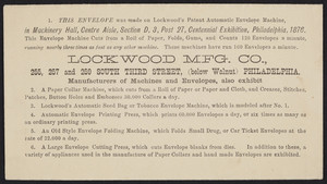 Envelope for the Lockwood Mfg. Co., manufacturers of machines and envelopes, 255, 257 and 259 South Third Street, Philadelphia, Pennsylvania, 1876