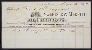 Billhead for Sweetser & Merritt, machinists, corner Church and Montello Streets, Brockton, Mass., dated September 30, 1884