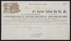 Billhead for the Carver Cotton Gin Co., machinists and manufacturers, East Bridgewater, Mass., dated December 10, 1884