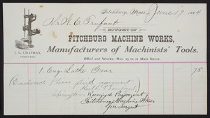 Billhead for the Fitchburg Machine Works, manufacturers of machinists' tools, Nos. 13 to 21 Main Street, Fitchburg, Mass., dated June 19, 1884