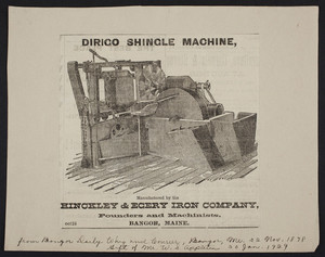 Advertisement for the Dirigo Shingle Machine, Hinckley & Egery Iron Company, founds and machinists, Bangor, Maine, dated November 22, 1878