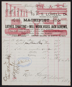 Billhead for F.S. Lovell, machinist and manufacturer of lathes, shafting and mill work, Simonds' Building, 58 Main Street, Fitchburg, Mass., dated July 2, 1883