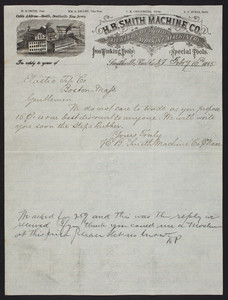 Letterhead for the H.B. Smith Machine Co., machinery and tools, Smithville, New Jersey, dated February 16, 1885