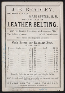 Price list for J.B. Bradley, mechanics mills, Manchester, New Hampshire, undated