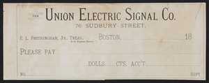 Check for The Union Electric Signal Company, 76 Sudbury Street, Boston, Mass., 1800s