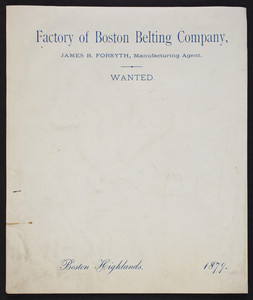 Letterhead for the Factory of Boston Belting Company, Boston Highlands, Mass., 1879