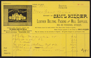 Billhead for Sam'l Kidder, leather belting, packing and mill supplies, No. 60 Federal Street, Boston, Mass., dated May 24, 1893