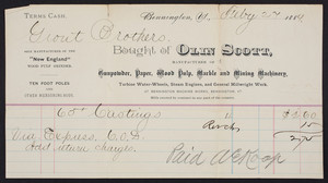 Billhead for Olin Scott, manufacturer of gunpowder, paper, wood pulp, marble and mining machinery, Bennington Machine Works, Bennington, Vermont, dated February 27, 1889
