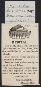 Advertisement for C. Houghton, surgeon dentist, Danvers, Mass., December 21-23, 1869