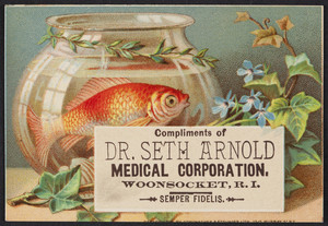 Trade card for the Dr. Seth Arnold Medical Corporation, Woonsocket, Rhode Island, undated