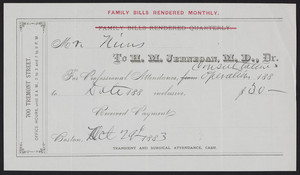 Receipt for H.M. Jernegan, M.D., Dr., 700 Tremont Street, Boston, Mass., dated October 29, 1883