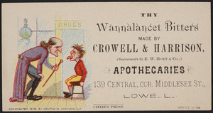 Trade card for Crowell & Harrison, apothecaries, 139 Central, corner Middlesex Street, Lowell, Mass., 1878