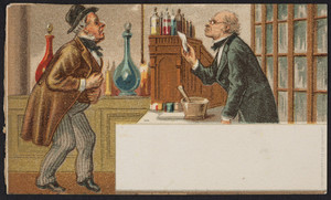 Trade card for unidentified pharmacy, location unknown, undated