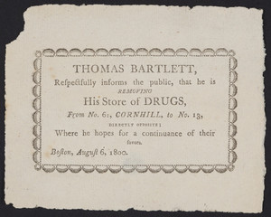 Advertisement for Thomas Bartlett, pharmacist, Boston, Mass., August 6, 1800