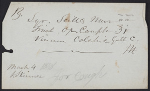 Prescription for coughs, J. Skinner, location unknown, dated March 4, 1878