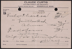 Prescription for Claude Curtis, pharmacist, College Avenue and Broadway, Powder House Square, Somerville, Mass., undated