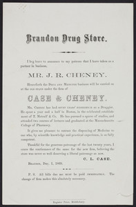 Handbill for the Brandon Drug Store, Case & Cheney, Brandon, Vermont, December 1, 1869