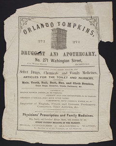Orlando Tompkins, druggist and apothecary, No. 271 Washington Street, corner Winter Street, Boston, Mass., ca. 1865