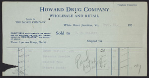 Billhead for the Howard Drug Company, wholesale and retail, White River Junction, Vermont, dated September 27, 1921