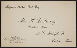 Business card for Mr. H.L. Leavey, graduate nurse, 95 St. Botolph Street, Boston, Mass., undated