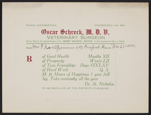 Greeting card for Oscar Schreck, M.D.V., veterinary surgeon, West Haven, Connecticut, dated December 25, 1925