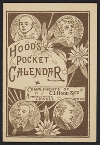 Hood's pocket calendar, C.I. Hood & Co., apothecaries, Lowell, Mass., 1881