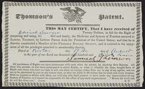Receipt for Thomson's Patent, Samuel Thomson, Boston, Mass., dated August 17, 1839