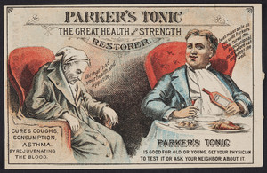 Trade card for Parker's Tonic, the great health and strength restorer, location unknown, undated