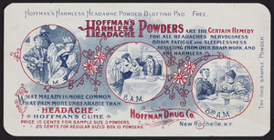 Trade card for Hoffman's Harmless Headache Powders, Hoffman Drug Co., New Rochelle, New York, undated