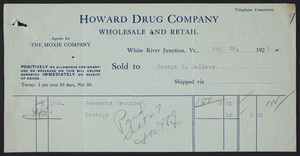 Billhead for the Howard Drug Company, wholesale and retail, White River Junction, Vermont, dated August 26, 1921
