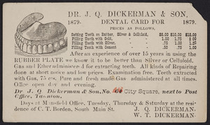 Trade card for Dr. J.Q. Dickerman & Son, No. 64 City Square, Taunton, Mass., 1879