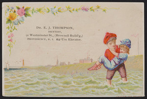 Trade card for Dr. E.J. Thompson, dentist, 91 Westminster Street, Providence, Rhode Island, undated