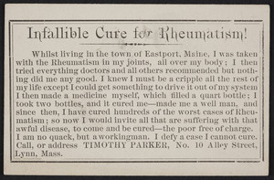 Trade card for Timothy Parker, rheumatism tonic, No. 10 Alley Street, Lynn, Mass., undated
