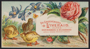 Trade card for Dr. Grosvenor's Liveraid, location unknown, 1879