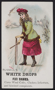 Trade card for Russell's White Drops for Babies, location unknown, undated